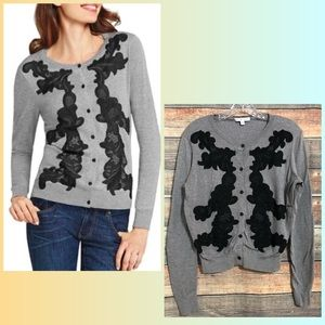 CAbi Size Medium Gray Black Embroidered Lace Button Down Cardigan Sweater